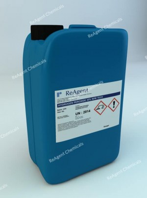 An image showing Hydrogen Peroxide 35% in a 25 litre container
