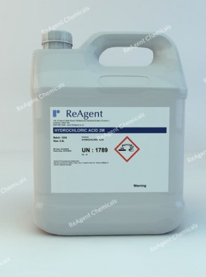 An image showing Muriatic Acid 2M in a 2.5litre container