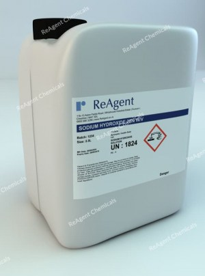 An image showing Sodium Hydroxide 20% w/v in a 2.5litre container