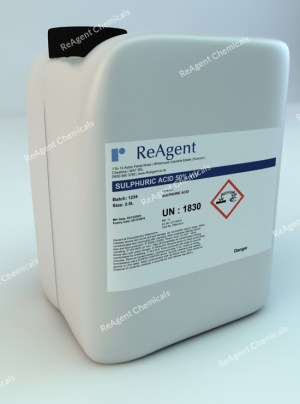 An image showing Sulphuric Acid 50% v/v in a 2.5litre container