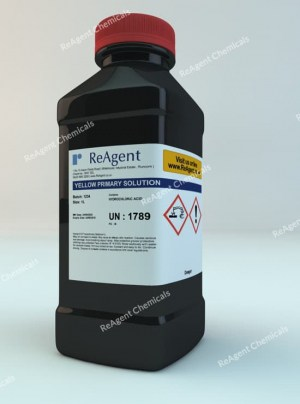 An image showing Yellow Colour Primary Solution to BP A46 in a 1 litre container