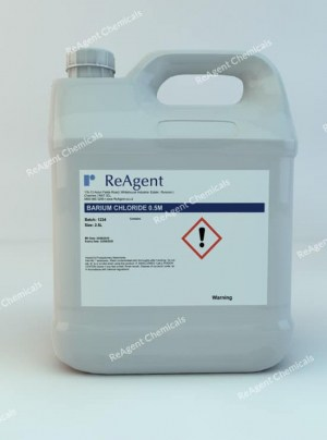 An image showing Barium Chloride 0.5M in a 2.5litre container
