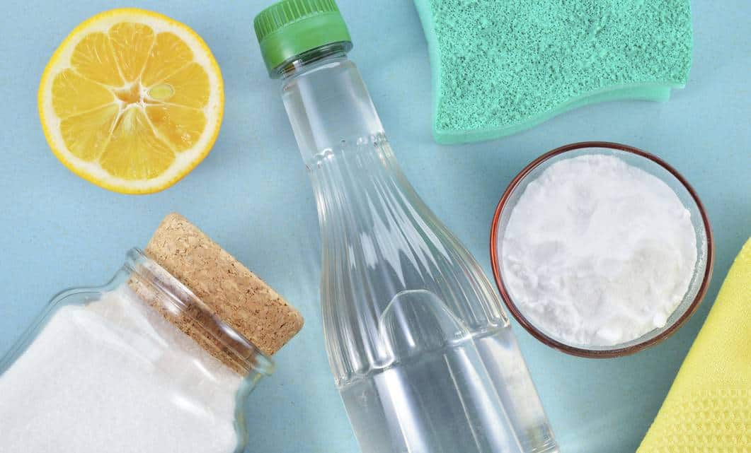 Baking soda, lemon, and vinegar are great natural cleaners