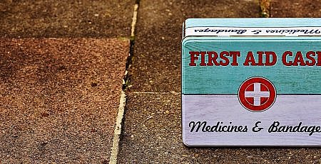 An old fashioned first aid kit