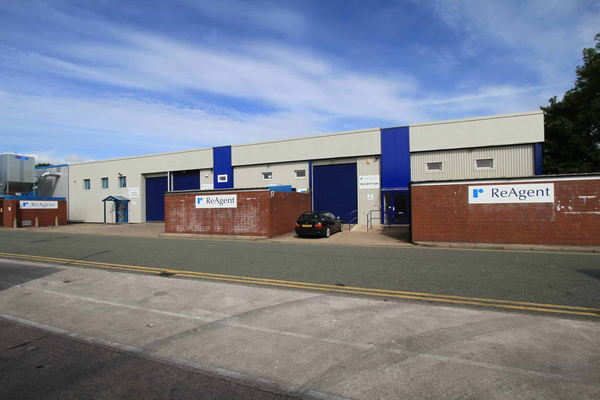 A long, outdoor shot of the ReAgent UK factory