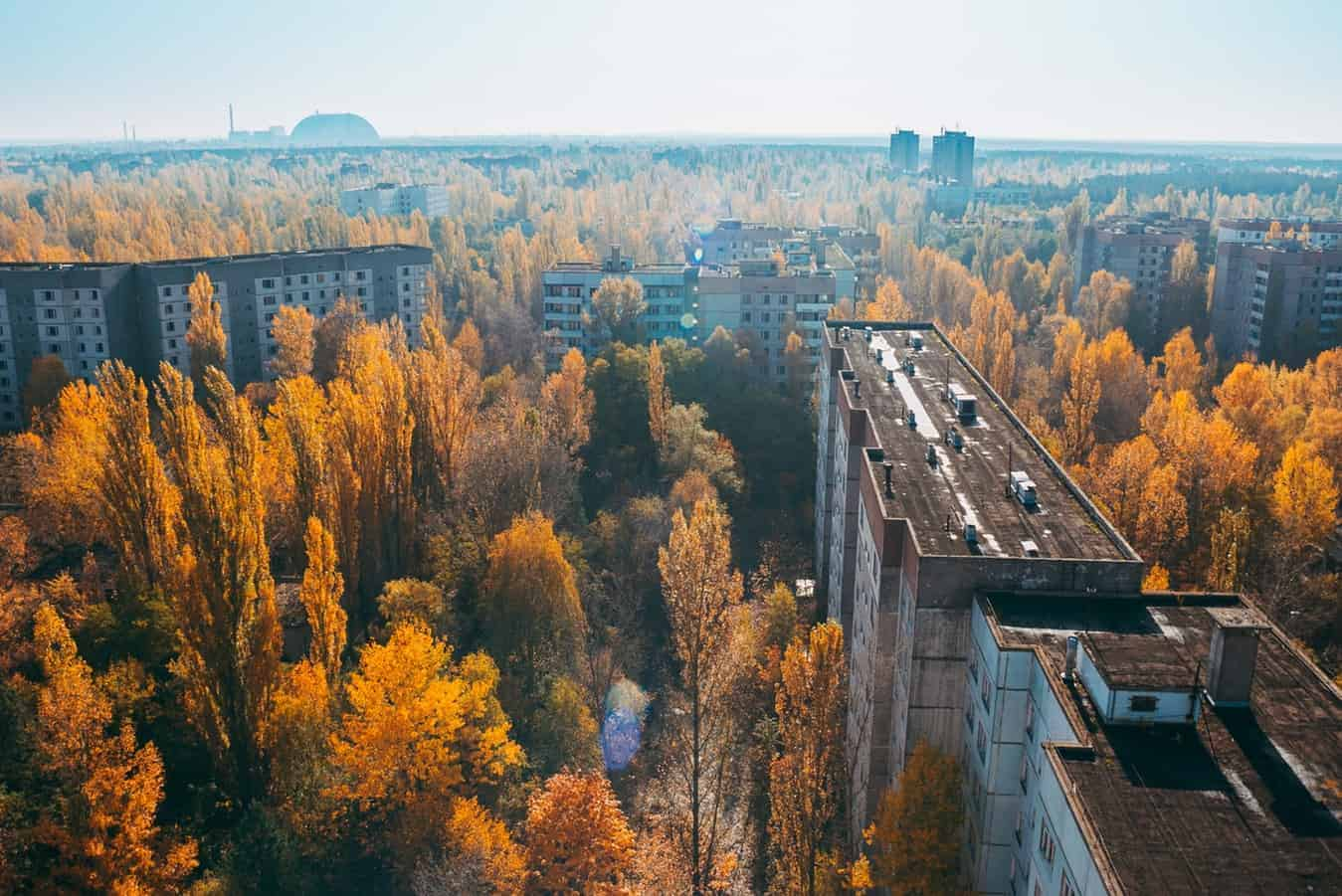 A view from the highest apartment building in Pripyat, the town nearest Chernobyl nuclear reactor