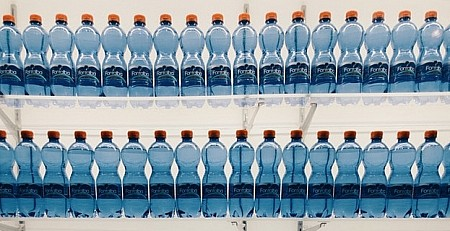Shelves of bottled water