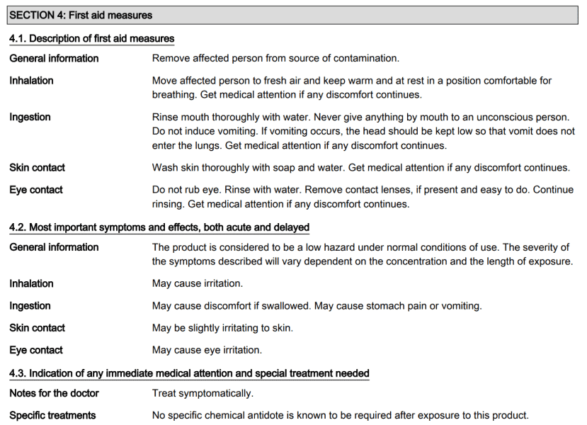 Section 4 of a glycerol material safety data sheet