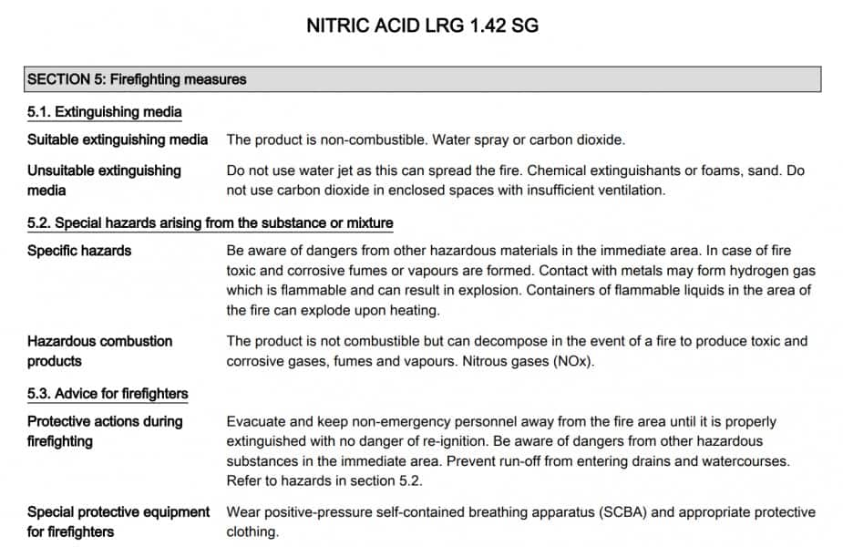 Section 5 - an example of how to read a material safety data sheet