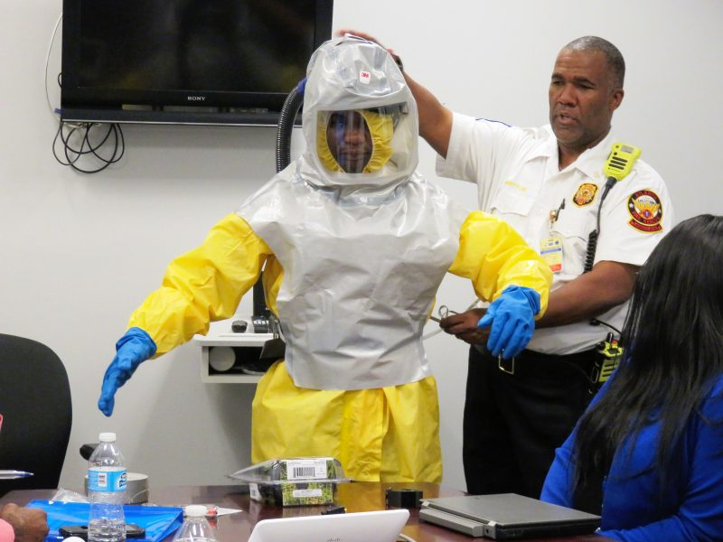 The type of PPE you might wear if you were coming into contact with infectious diseases