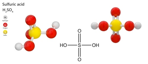The chemical equation of sulfuric acid - 3D illustration